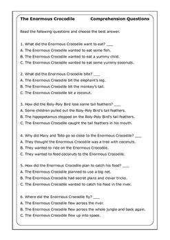 Roald Dahl The Enormous Crocodile worksheets by Peter D