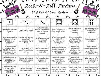 Rock-N-Roll 3rd Grade ELA End of Year Review (Great for