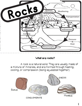 Rocks and Minerals Worksheets! Rock Types & Rock Cycle