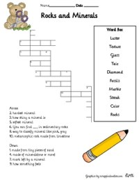 Rocks and Minerals Printables, Vocabulary, Crossword and ...