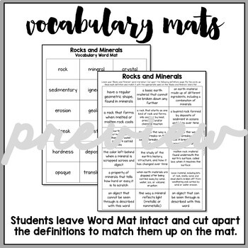 Rocks and Minerals Vocabulary Mats, Study Slips, and