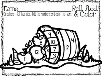 Roll, Add, and Color Printable Pack {Set #1} by Stephany