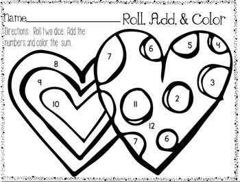 Roll, Add, and Color Printable Pack {Set #2} by Stephany