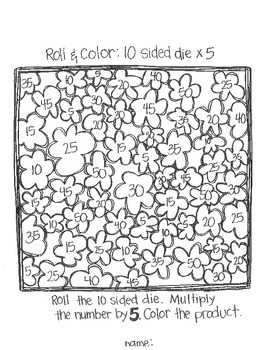 Roll & Color: Multiplication Games Using 10 Sided Dice by