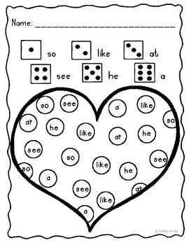 Sight Words: Roll, Read, & Color: Valentine's Day; F&P