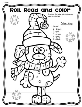 Roll, Read and Color Winter Freebie {Math Kindergarten} by