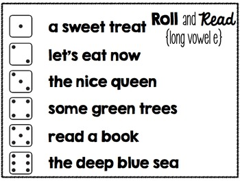 Roll and Read Fluency Phrases {Long Vowels} by Kelli