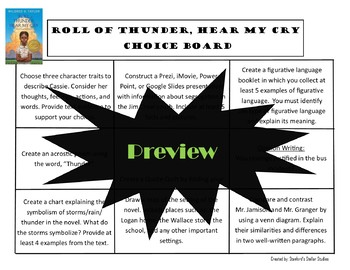 Roll of Thunder, Hear My Cry Choice Board Novel Study