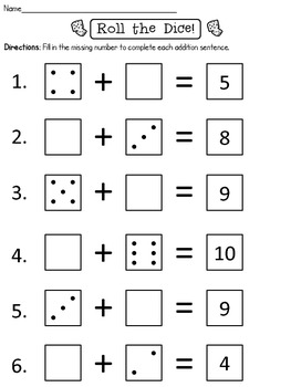 Roll the Dice Missing Addend Worksheet FREEBIE by Mrs