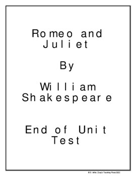 Romeo and Juliet by William Shakespeare Unit Novel Play