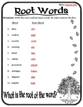 Root Words Worksheet Root Words, Prefixes, and Suffixes