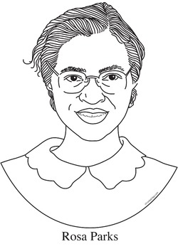 Rosa Parks Realistic Clip Art, Coloring Page and Poster by