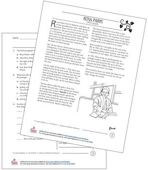 Rosa Parks Grades 3–5 Free Printable by Carson Dellosa
