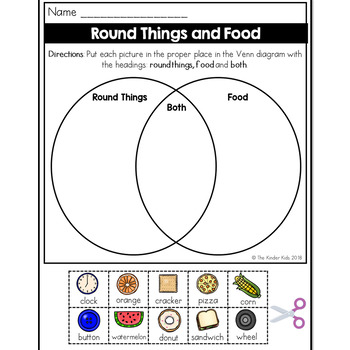 Round Things and Food Venn Diagram Worksheet by The Kinder