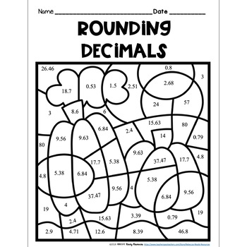 Rounding Decimals: Color by Number-Fall Theme by Rebecca's