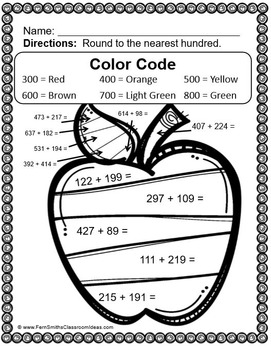 3rd Grade Go Math 1.3 Color By Numbers Rounding to