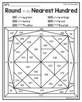 Rounding to the Nearest HUNDRED Coloring Worksheets by