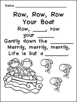 Row, Row, Row Your Boat Book, Poster, & MORE- Kindergarten