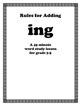 Rules For Adding ING Endins Word Study Lesson for the ing