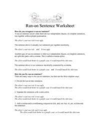 Run-on Sentence Worksheets, Quiz and Answer Keys by Laura ...