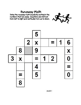 Runaway Math Puzzles Multiplication Math Practice Grades 2