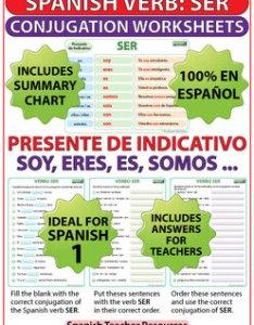 Ser spanish verb conjugation worksheets present tense also by rh teacherspayteachers
