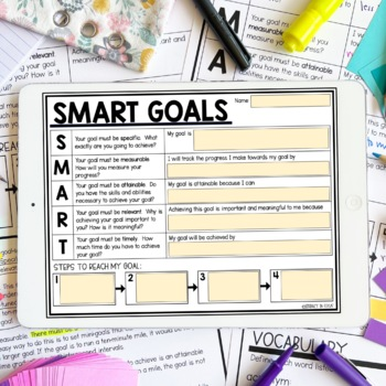 SMART Goals Student Planning Template by Literacy in Focus