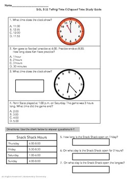 Telling Time / Elapsed Time Study Guide VA SOL 3.11 by