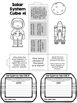 SOLAR SYSTEM--PLANETS--REVIEW ACTIVITIES, Exit Tickets
