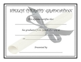Speech Therapy Graduation Certificate Worksheets
