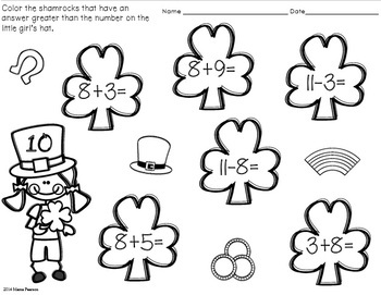 FREE NO PREP St. Patrick's Day Math Printables by Mama