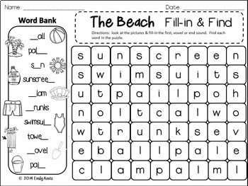 SUMMER Word Search: Fill-in-and-Find Puzzles (End of the