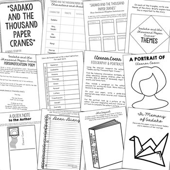 SADAKO AND THE THOUSAND PAPER CRANES Novel Study Unit