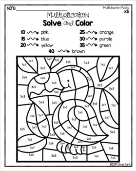 Multiplication Coloring Worksheets Math Solve and Color