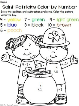Saint Patrick's Color by Number ~ Addition & Subtraction