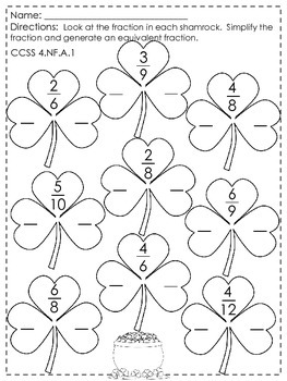 St Patrick's Day Fraction Worksheets by I HEART 4th grade