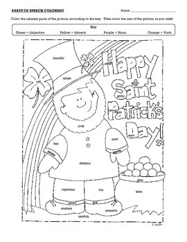 Saint Patrick's Day Parts of Speech Coloring Page by