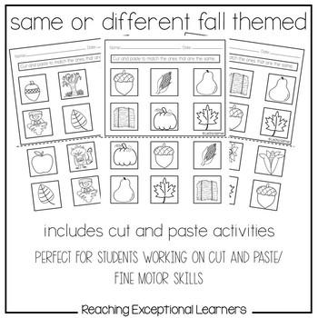 Math Worksheets: Same or Different-Fall Themed- Special