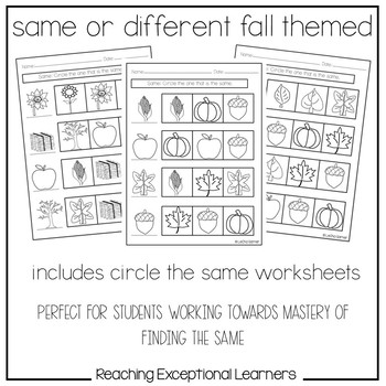 Same or Different Fall Worksheets by Reaching Exceptional