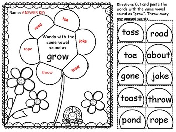 Same Vowel Sound Cut & Paste: Great practice for IREAD! by
