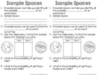 Sample Space Worksheet - Kidz Activities