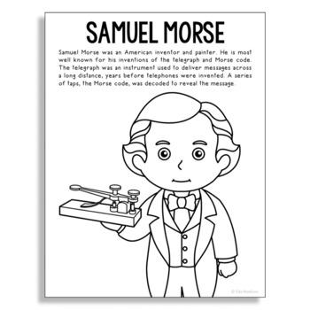 SAMUEL MORSE Inventor Coloring Page Craft or Poster, STEM
