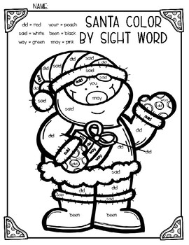 Santa & Christmas Tree Color by Sight Word Duo by