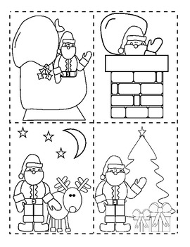 Santa's Christmas Night Sequence of Events Activity Cut