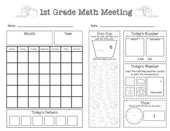 First Grade Saxon Math Meeting Worksheet by Little