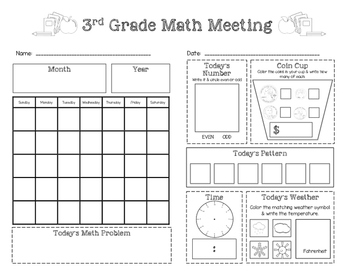 Third Grade Saxon Math Meeting Worksheet by Little