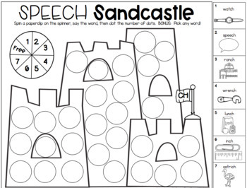 Say & Dot Articulation Sandcastles for Speech Therapy by