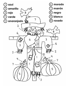 Scarecrow Color by Number in Spanish {1-10} by The First