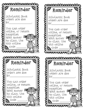 Scholastic Book Order {Parent Letter, Reminder Note