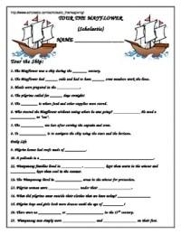 Scholastic Tour the Mayflower Worksheet: Thanksgiving | TpT